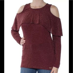 NWT Michael Kors Cold Shoulder Burgundy Blouse